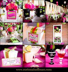 Fun pink and green wedding reception details - The White Room in St. Augustine, Florida @WhiteRoom SaintAugustine www.corinnahoffman.com