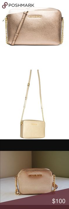 "Authentic Michael Kors cross body The perfect cross body! Like new only worn a handful of times minor cleaning needed on inside lining. Big enough to hold an iPhone 6s with a thick case and still have plenty room for makeup and credit cards, ""it's amazing how much stuff I can fit in this thing"" The bag is a beautiful gold color but don't worry it is in no way flashy it is perfect for everyday wear and makes a perfect transition into night. I wish I could keep this purse but I just have no…"