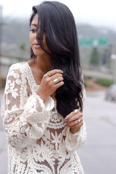 Love the hair and could use this top as a swim suit cover up