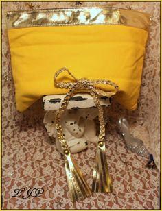 FOR SALE ON EBAY....VINTAGE-PILAR-BURGOS-clutch-purse-butter-yellow-Golden-trim-&-braided-bow-Spain