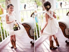 flower girl dress for rustic boot wedding | flower girl dress from tea princess this photo is so