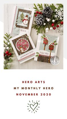 Hero Arts Cards, Winter Cards, Card Kit, Coffee Time, Homemade Cards, Arrows, Cardmaking, Christmas Cards, November
