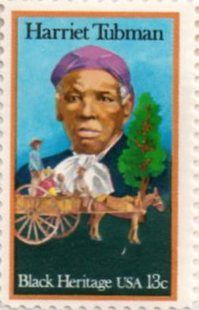US postage stamp, 13 cents.  Harriet Tubman.  Black Heritage.  Issued 1978. Scott catalog 1744.