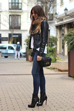 Leather jacket and booties :) love