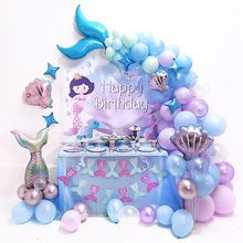 Mermaid Birthday Decorations, Mermaid Birthday Cakes, Little Mermaid Birthday, Mermaid Balloons, Frozen Balloons, Happy Birthday Parties, Frozen Birthday Party, Balloon Garland, Birthday Balloons