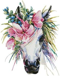 Photo about Watercolor unicorn illustration. White horse in flower wreath. Illustration of horn, magic, fairy - 94896058 Watercolor Horse, Floral Watercolor, Watercolor Images, Tattoo Watercolor, Unicorn Cross Stitch Pattern, Cross Stitch Patterns, Cross Stitches, Unicorn Illustration, Unicorn Art