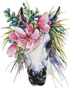 Photo about Watercolor unicorn illustration. White horse in flower wreath. Illustration of horn, magic, fairy - 94896058 Unicorn Cross Stitch Pattern, Cross Stitch Patterns, Cross Stitches, Watercolor Horse, Watercolor Paintings, Tattoo Watercolor, Watercolor Images, Unicorn Illustration, Unicorn Art
