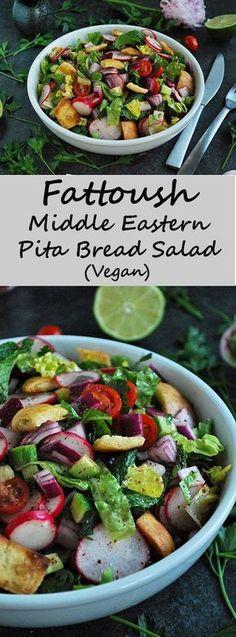Fattoush Salad - Vegan Middle Eastern Pita Bread Salad