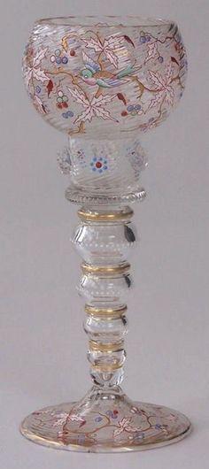 Unusual tall enamelled Bohemian clear glass goblet Fritz Heckert