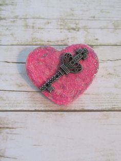 Pink Heart Pin Valentine Pin Pink Heart by BrownBeaverBeadery