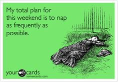 Funny Weekend Ecard: My total plan for this weekend is to nap as frequently as possible.