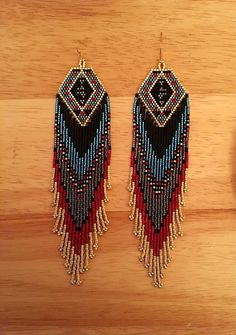 Luxury Glass Seed Bead Earrings Native American Beaded