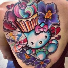 Hello Kitty, sweets, and flowers tattoo. Cute!