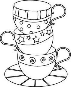 Cute teacup embroidery pattern could be used for patchwork Applique Patterns, Embroidery Applique, Machine Embroidery, Embroidery Designs, Patchwork Patterns, Vintage Embroidery, Wedding Embroidery, Paper Embroidery, Embroidery Stitches