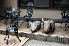 長岡天満宮 カフェで牛がお出迎え