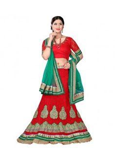 Designer Style Red Net Lehenga Choli - 116red