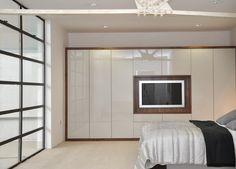 Here we share a collection of funky High Gloss Bedroom Furniture Design. Black and white furniture ideas for your master bedroom interior decoration Fitted Bedroom Furniture, Fitted Bedrooms, Tv In Bedroom, Closet Bedroom, Master Bedroom, Bedroom Storage, Built In Wardrobe Designs, Wardrobe Design Bedroom, Wardrobe Ideas
