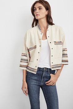 BILLEE EMBROIDERED JACKET, Velvet by Graham and Spencer. https://velvet-tees.com/women/the-latest/new-arrivals/billee-embroidered-jacket.html