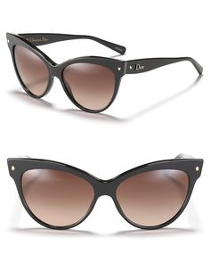 Dior Cat Eye Sunglasses with Logo on Temple    Ultra chic cat eye sunglasses with faceted gold bead detail at temples, the purr-fect accessory this season.