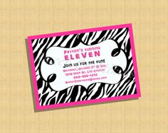 Pink and Zebra Birthday or Baby Shower Invitation - Party Theme - Digital Zebra Pink Invite