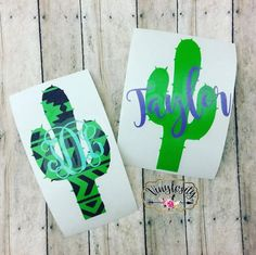 Cactus Monogram  Cactus Decal  Aztec Cactus  Yeti by VinylosityCo