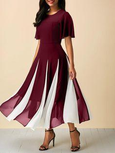 Chiffon Ptachwork Mid-Long Dresses