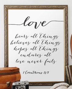 Wedding quote from the bible verse print wall by TwoBrushesDesigns #lovequotes