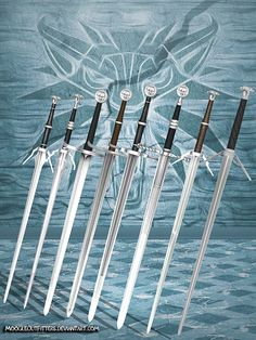 Complete set of the Wolf School Swords ported from The Witcher Wild Hunt to work in XPS. Every sword comes with a scabbard that can be made optional . The Witcher 3 - Wolf School Swords Fantasy Sword, Fantasy Armor, Fantasy Weapons, Medieval Fantasy, Swords And Daggers, Knives And Swords, The Witcher Geralt, Witcher Art, Types Of Swords