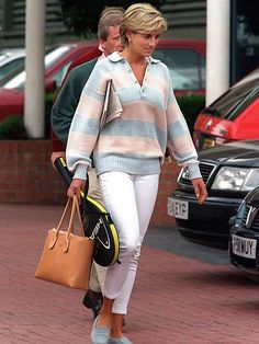 princess diana, this outfit is so on point. Powder blue Tod's matching the stripe in the sweater! princess diana, this outfit is so on point. Powder blue Tod's matching the stripe in the sweater!