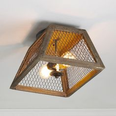 Chicken Wire Shade Ceiling Light - this could be a fun DIY project