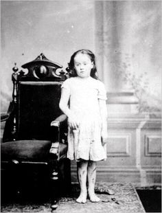 As an eight-year-old, Mary Ellen Wilson was severely abused by her foster parents, Francis and Mary Connolly. Her case of child abuse led to the creation of the New York Society for the Prevention of Cruelty to Children. Image dated 1874.