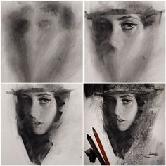 the progression of a charcoal piece by Casey Baugh, caseybaugh on IG