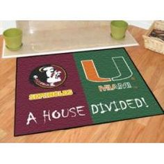 "Florida State Seminoles - Miami Hurricanes House Divided Rug 34""x45"""