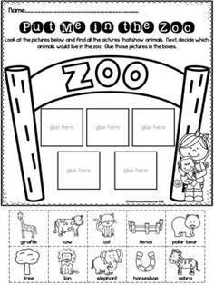 Worksheets Preschool, Zoo Activities Preschool, Free Preschool, Preschool Curriculum, Preschool Printables, Preschool Classroom, Preschool Learning, Work Activities, Classroom Themes