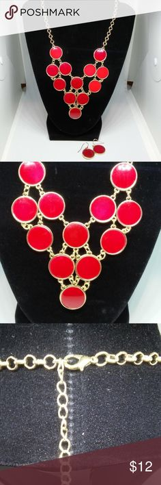 Jewelry Necklace Earrings Set Red Drop Dangle New with/out tag... Mixit. Fashion statement choker necklace earrings set. Gold-tone rolo chain. 10-inch length with a 3-inch extender. Lobster claw clasp closure. Drop/dangle earrings have fish hook ear wires and measure in at 1 inch long This product not intended for use by or accessible to children 12 years of age or younger. Mixit Jewelry