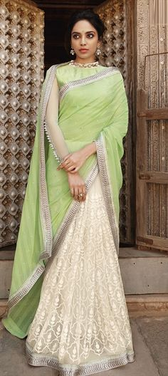 166653 Green, White and Off White color family Embroidered Sarees, Party Wear Sarees in Chiffon, Net fabric with Lace, Machine Embroidery, Moti work with matching unstitched blouse.