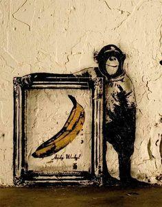 Andy Warhol and the chimp / street art Amazing Street Art, Amazing Art, Andy Warhol, Arte Banksy, Bansky, The Velvet Underground, Pop Art, Street Art Banksy, Banana Art