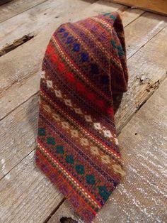 """Tweed Necktie Stripe Vintage 70s Tie 3.5"""" The Amanas 100% Wool USA Brown #NeckTie"""