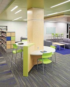 Around the posts in my library. Sioux Center Middle an d High School, IA - Demco Interiors Teen Library Space, School Library Design, Middle School Libraries, Modern Library, Classroom Design, Classroom Furniture, School Furniture, Library Inspiration, Learning Spaces