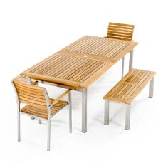 Teak and Stainless Steel Table and Benches - Westminster Teak Outdoor Furniture