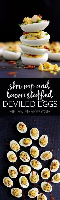 The traditional deviled egg goes upscale with the addition of shrimp and bacon, becoming an instant dinner favorite. Double the recipe, my friends. These Shrimp and Bacon Stuffed Deviled Eggs are going to go fast.