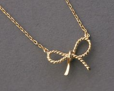 Yellow Gold Bow Forget Me Knot Necklace Sterling Silver from kellinsilver.com