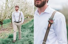 Casual groom look in khakis and suspenders   Oregon Rose Gold Bohemian Chic Wedding by @whiteivory