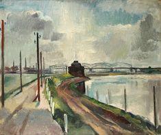 View of a bridge by István Szőnyi Past, Bridge, Auction, Artist, Paintings, Scenery, Past Tense, Paint, Bro
