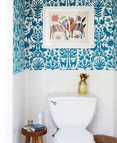 Membership Tropicana Otomi (Turquoise) Wallpaper by Hygge & West in Lonny's Editorial Director's toilet. Office Inspiration, Bad Inspiration, Bathroom Inspiration, Bathroom Ideas, Bathroom Photos, Turquoise Wallpaper, White Wallpaper, Wallpaper Ideas, Downstairs Toilet
