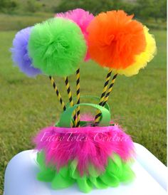 Truffula Tree Inspired Tulle Wands & Tote Centerpiece FairyTotes Couture at Etsy.com
