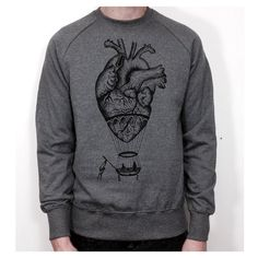 MENS SWEATER anatomical heart hot air balloon by hardtimesdesign
