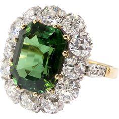 Gorgeous 7.95ct t.w. Emerald Cut Green Tourmaline & Old European Cut Diamond Halo Engagement Ring 18k Platinum www.rubylane.com #vintagebeginshere