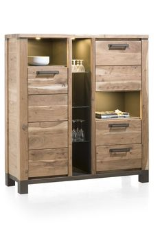 Highboard Falster, made of Kikar wood. It offers a lot of storage room and LED lighting is included
