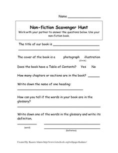 Send students on a Non-Fiction Scavenger Hunt to provide them with exposure to Nonfiction text features. I have students work with partners to expl...